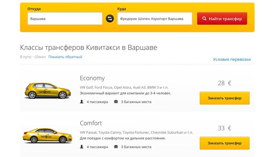 Стоимость такси из центра Варшавы в аэропорт Шопена